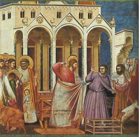 Christ whips the moneychangers form the Temple